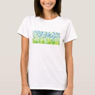 Blue Pastel Flax Watercolor Flowers T-Shirt
