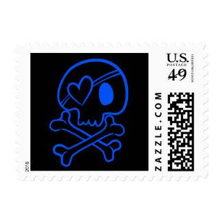 Blue Pastel Goth Kitsch Skull & Crossbones Stamp