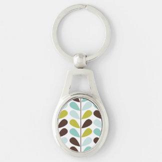 Blue Pastel Leaf Pattern Keychain