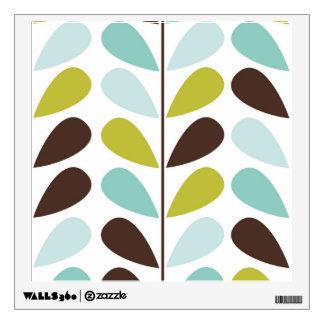 Blue Pastel Leaf Pattern Wall Sticker