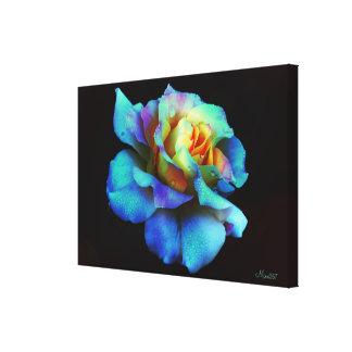 Blue Pastel Rainbow Rose Wrapped Canvas Canvas Print