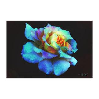 Blue Pastel Rainbow Rose Wrapped Canvas Large Canvas Print