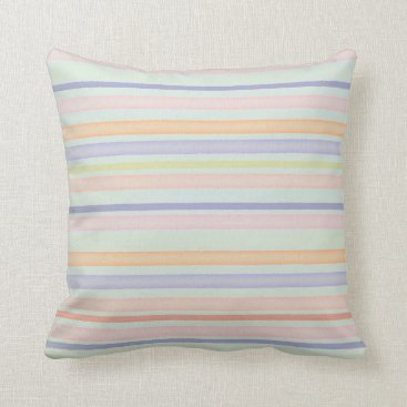 Beach Themed Blue pastel stripes throw pillow