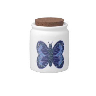 Blue Patchwork Butterfly Candy Sugar Jar Candy Dish