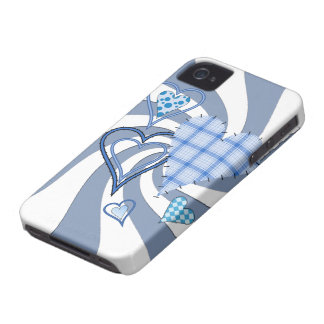 Blue Patchwork Hearts iPhone 4 4S BT Case