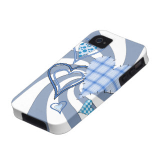 Blue Patchwork Hearts iPhone 4 4S Vibe Case Vibe iPhone 4 Case