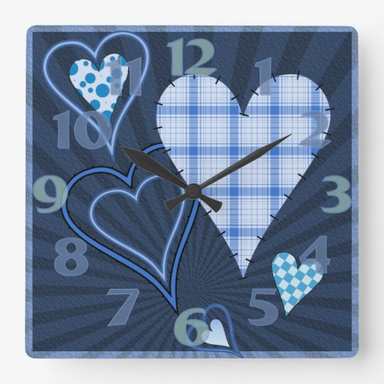 Blue Patchwork Hearts Square Clock