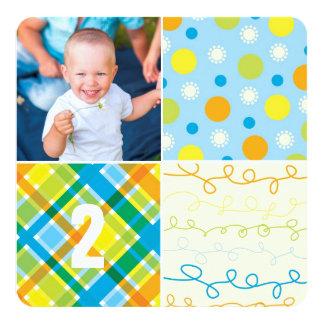 Blue Patchwork Pattern Squares Boy Photo Birthday Card
