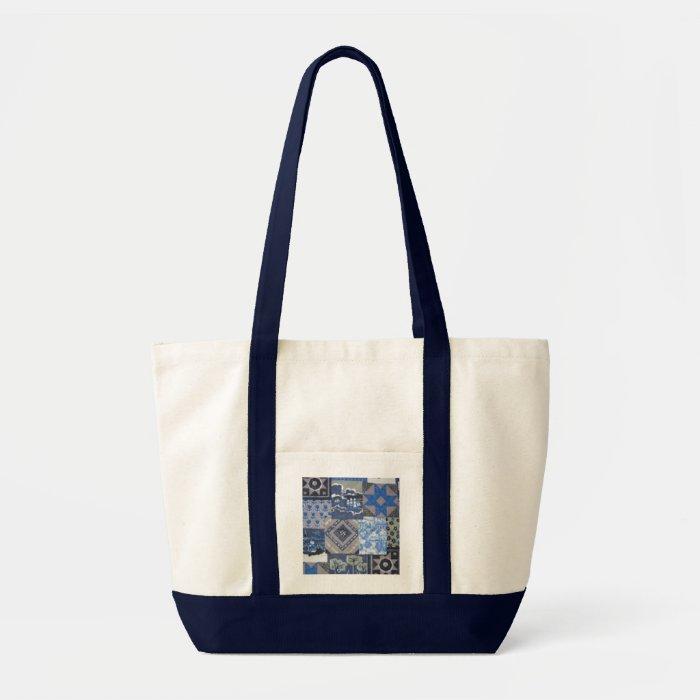 Blue Patchwork Quilted Print Design Tote, Handbag