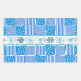 Blue patchwork rectangular sticker