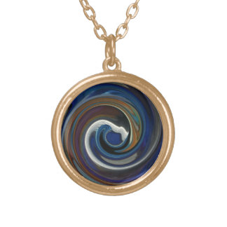 Blue Patchwork Swirl Necklace