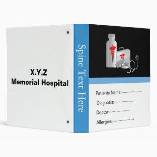 Blue patient's medical record book vinyl binder
