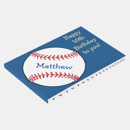 Blue Patriotic Baseball Birthday Sports Guest Book