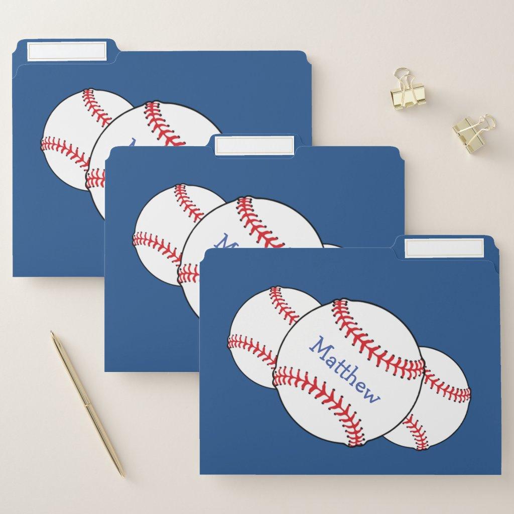 Blue Patriotic Baseball Sports File Folder Set