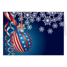 Blue Patriotic Christmas Card at Zazzle