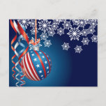 Blue Patriotic Christmas Holiday Postcard