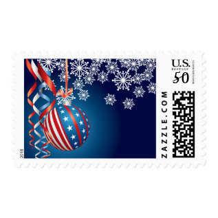 Blue Patriotic Christmas Postage at Zazzle