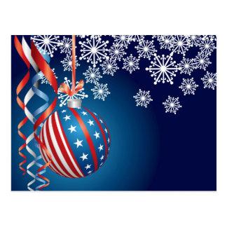 Blue Patriotic Christmas Postcard
