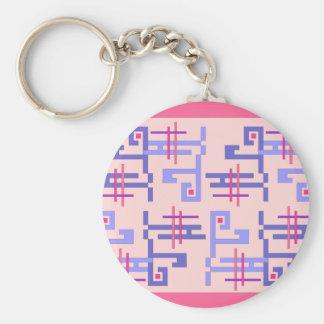 Blue Pattern Basic Round Button Keychain