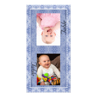 Blue Pattern Bride & Groom Photo Table Number Card