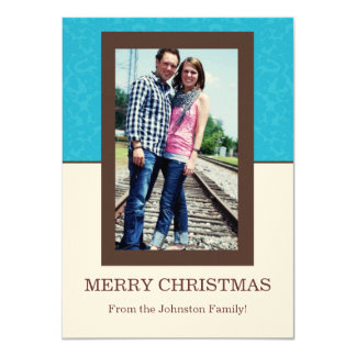 Blue Pattern & Cream Photo Christmas Cards