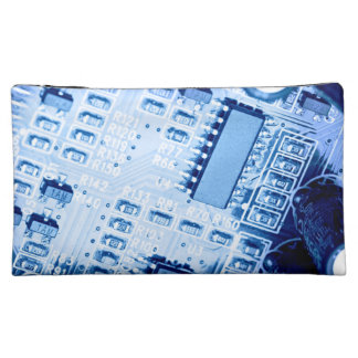 Blue Pattern created with to motherboard Makeup Bag