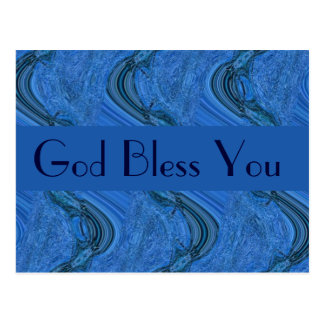 blue pattern  God Bless You Postcard