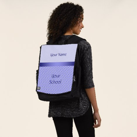 Blue pattern. Grid and silk ribbon. Add your text. Backpack