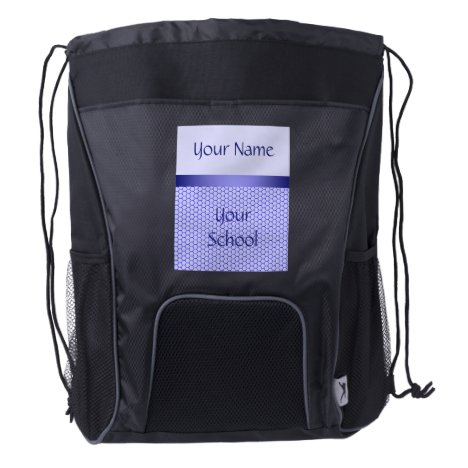 Blue pattern. Grid and silk ribbon. Add your text. Drawstring Backpack