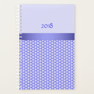 Blue pattern. Grid (hexagonal cells) and silk band Planner