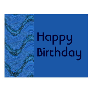 blue pattern Happy Birthday Postcard