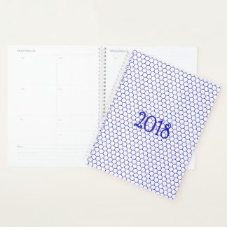 Blue pattern. Hexagonal grid. Add text. Planner