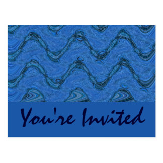 blue pattern Invitation Postcard
