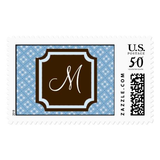 Blue Pattern Monogram Wedding Postage Stamps