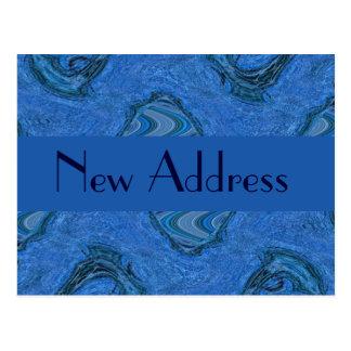 blue pattern New Address Postcard