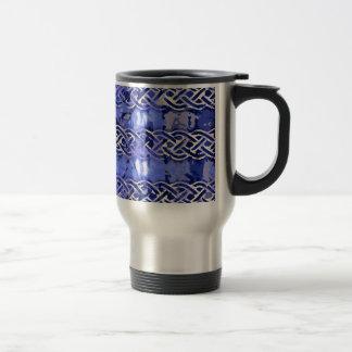 Blue pattern number 9 travel mug