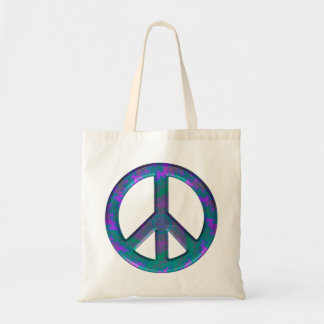 Blue Pattern Peace Sign Budget Tote