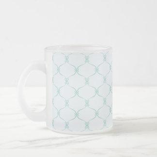 Blue Pattern Quatrefoil Frosted Glass Coffee Mug