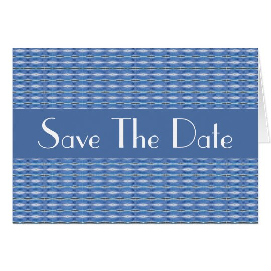 blue pattern Save the Date Card