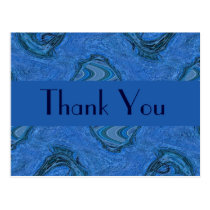 blue pattern Thank You Postcard