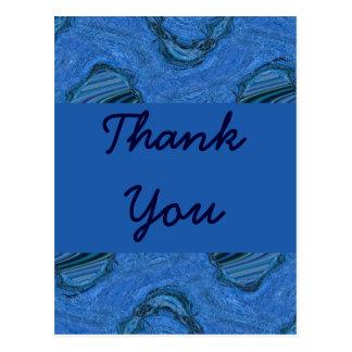 blue pattern Thank You Postcard