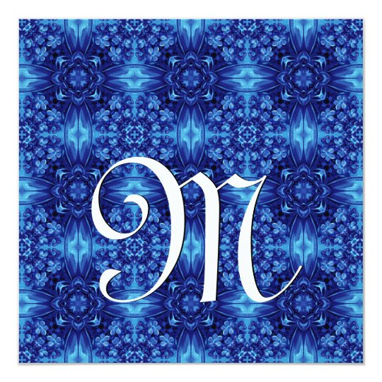 Blue Pattern Wedding Monogram Template V04