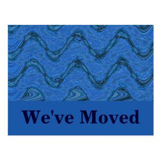 blue pattern Weve Moved Postcard