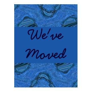 blue pattern We've Moved Postcard