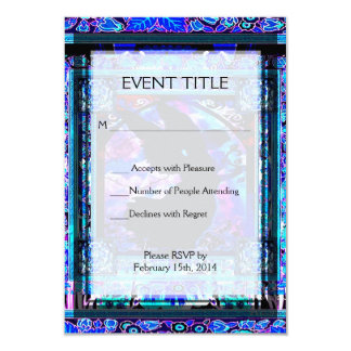 Blue Pattern with Black Angel Silhouette Card