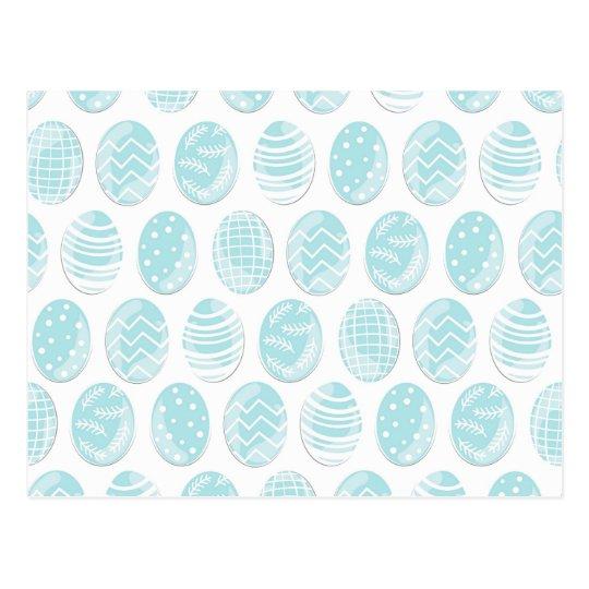 blue patterned Easter eggs Postcard