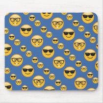 Blue Patterned Glasses Emojis Mouse Pad