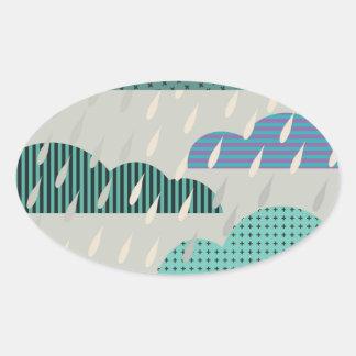Blue Patterned Rain Clouds Oval Sticker