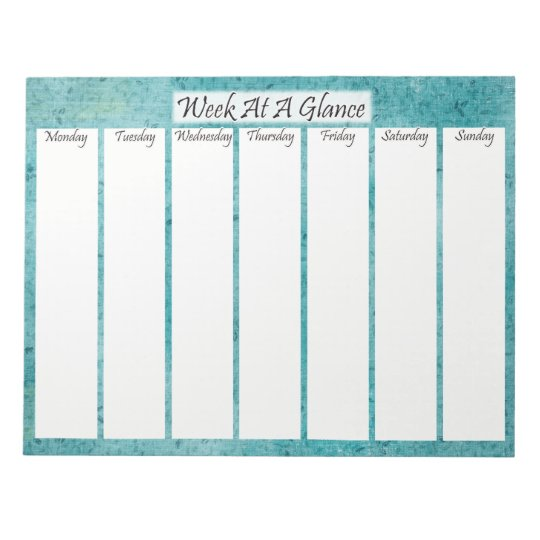 Blue Patterned Week At A Glance Notepad