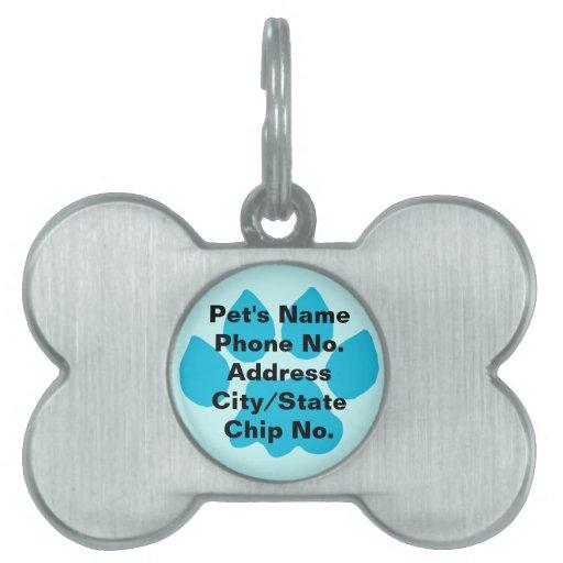 Blue Paw Bone Pet Tag